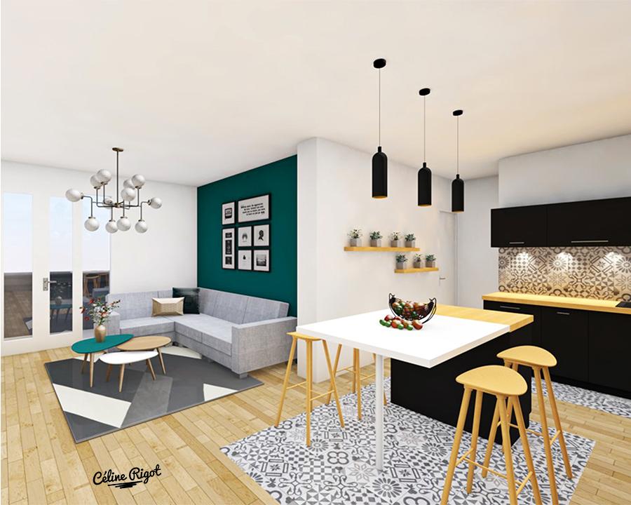 Céline Rigot architecte d'intérieur aménagement d'un appartement colocation