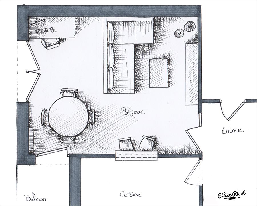 Céline Rigot architecte d'intérieur - agencement séjour - plan graphique