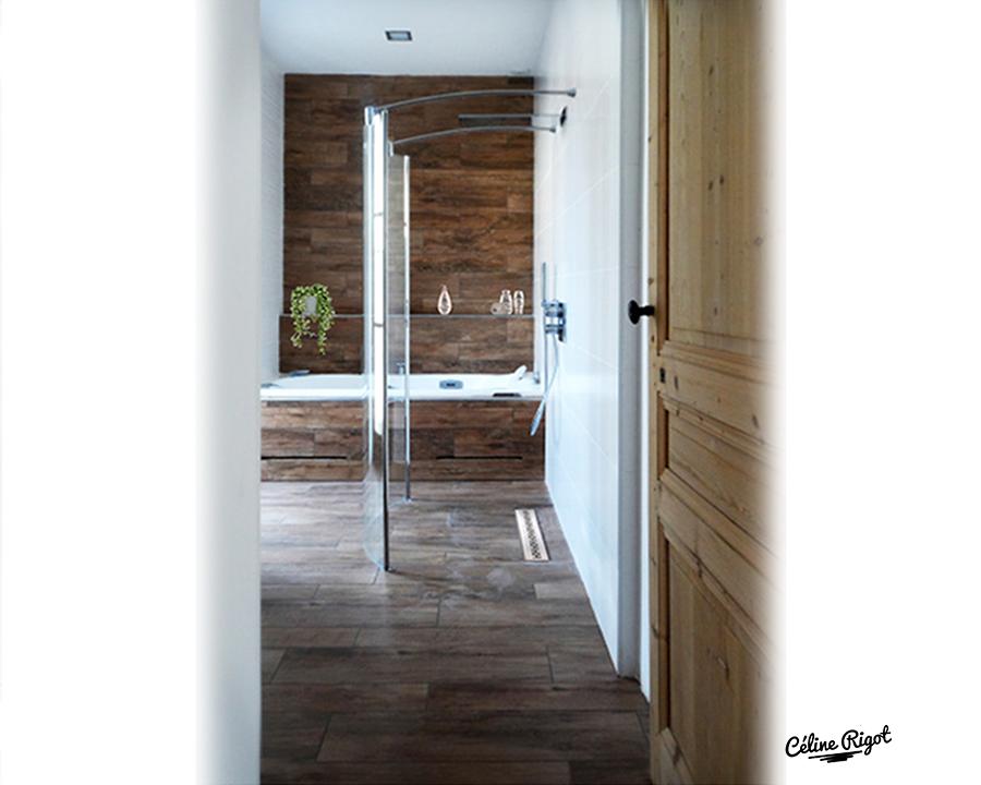 Céline Rigot architecte d'intérieur - Création d'une salle de bain - carrelage effet parquet